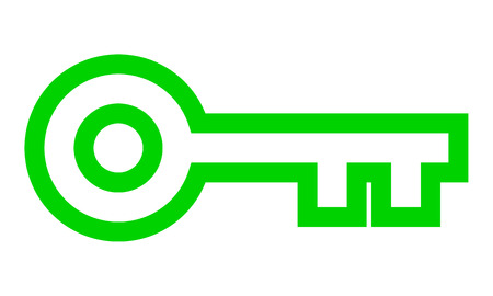 Key symbol icon - green simple outline, isolated - vector illustration