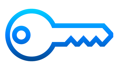 Key symbol icon - blue gradient outline, isolated - vector illustration
