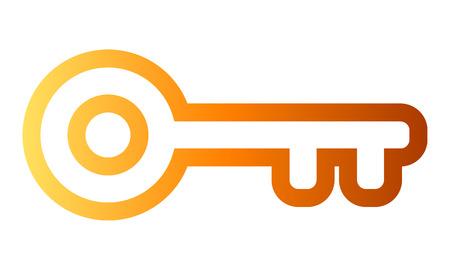 Key symbol icon - orange gradient outline, isolated - vector illustration Illustration