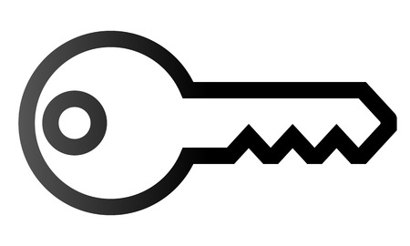 Key symbol icon - black gradient outline, isolated - vector illustration