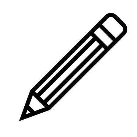Icône symbole crayon - contour simple noir, isolé - vector illustration Vecteurs