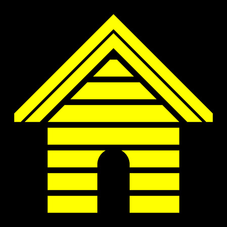 Home symbol icon - yellow striped, isolated - vector illustration Иллюстрация