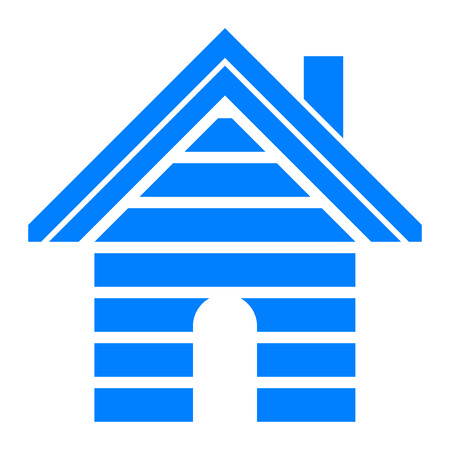 Home symbol icon - blue striped, isolated - vector illustration