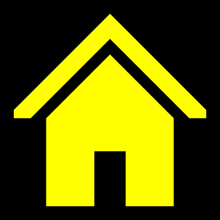 Home symbol icon - yellow simple, isolated - vector illustration