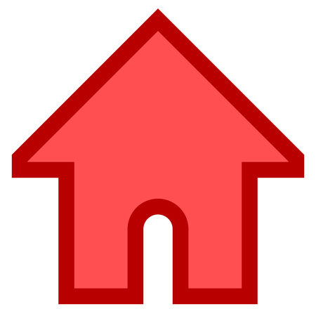 Home symbol icon - red simple with outline, isolated - vector illustration