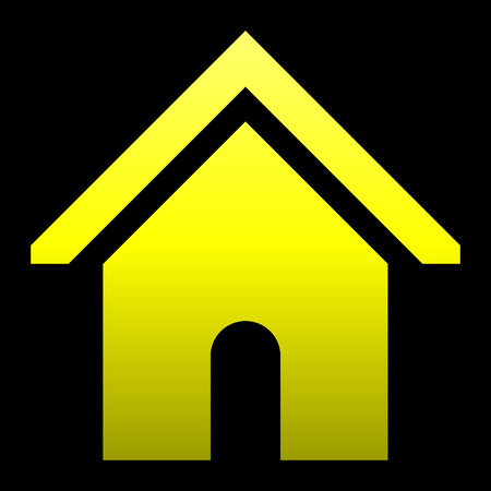 Home symbol icon - yellow gradient, isolated - vector illustration
