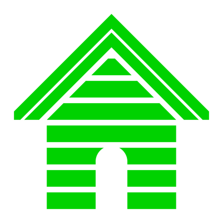 Home symbol icon - green striped, isolated - vector illustration