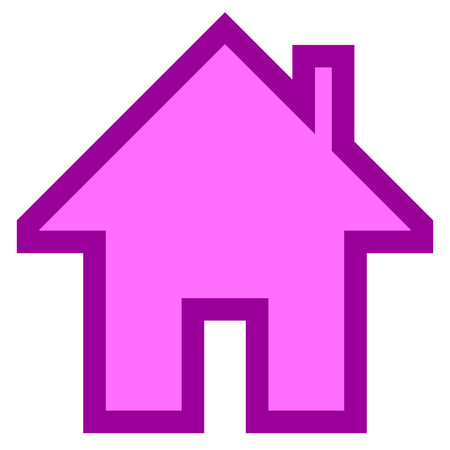 Home symbol icon - purple simple with outline, isolated - vector illustration