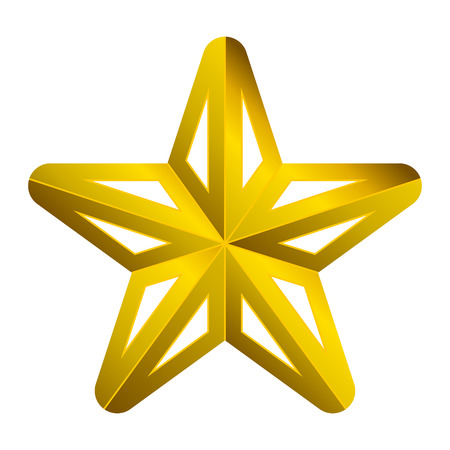 Star symbol icon - golden gradient 3d, 5 pointed rounded, isolated - vector illustration  イラスト・ベクター素材