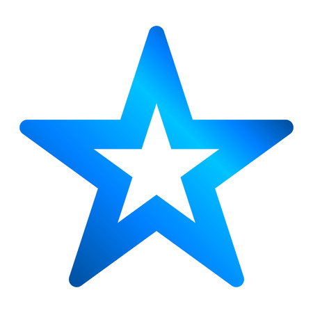Star symbol icon - blue hollow gradient, 5 pointed rounded, isolated - vector illustration  イラスト・ベクター素材
