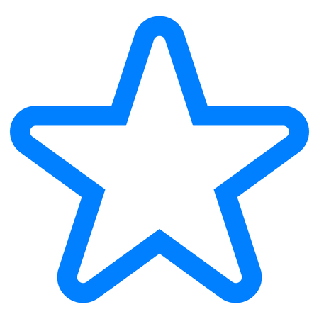 Star symbol icon - blue simple outline, 5 pointed rounded, isolated - vector illustration
