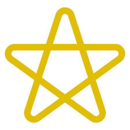 Star symbol icon - golden simple outline, 5 pointed rounded, isolated - vector illustration