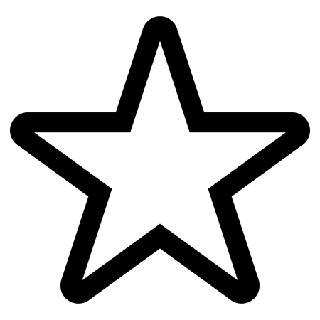 Star symbol icon - black simple outline, 5 pointed rounded, isolated - vector illustration  イラスト・ベクター素材