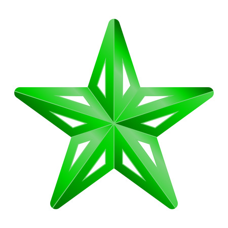 Star symbol icon - green gradient 3d, 5 pointed rounded, isolated - vector illustration