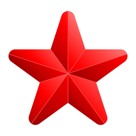 Star symbol icon - red gradient 3d, 5 pointed rounded, isolated - vector illustration
