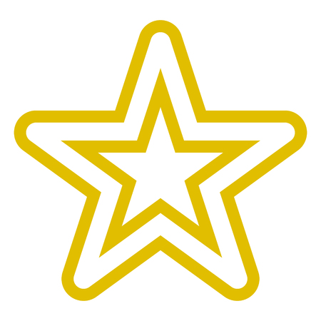 Star symbol icon - golden simple hollow outline, 5 pointed rounded, isolated - vector illustration