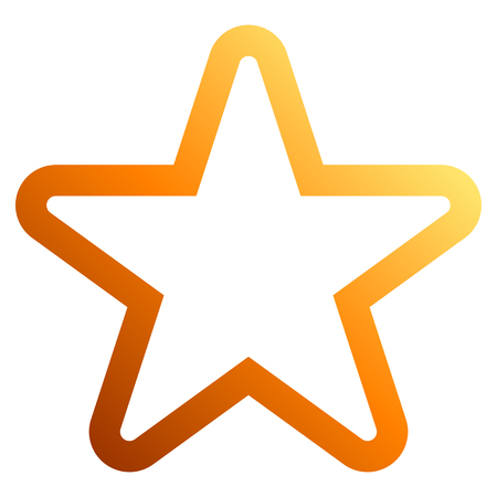 Star symbol icon - orange gradient outline, 5 pointed rounded, isolated - vector illustration