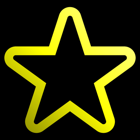 Star symbol icon - yellow gradient outline, 5 pointed rounded, isolated - vector illustration  イラスト・ベクター素材