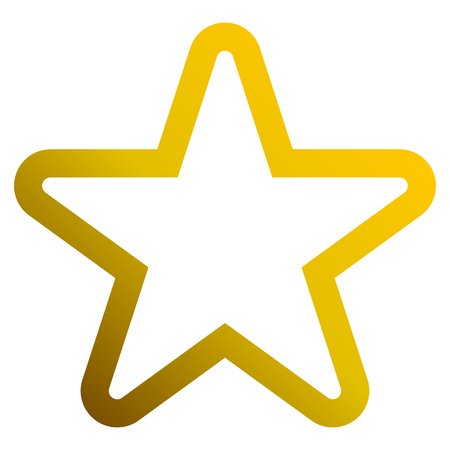 Star symbol icon - golden gradient outline, 5 pointed rounded, isolated - vector illustration