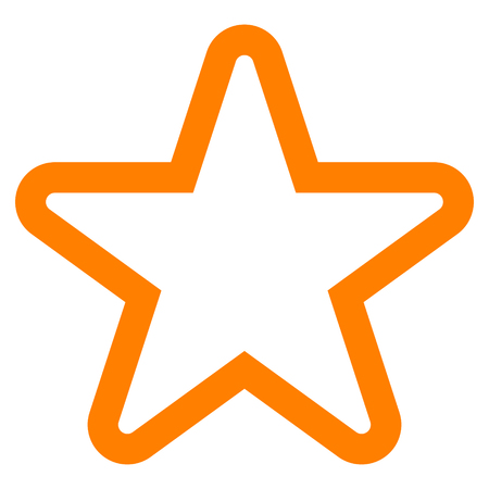 Star symbol icon - orange simple outline, 5 pointed rounded, isolated - vector illustration Ilustração
