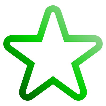 Star symbol icon - green gradient outline, 5 pointed rounded, isolated - vector illustration