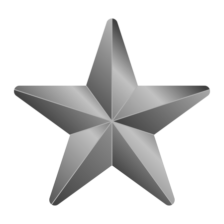 Star symbol icon - gray gradient 3d, 5 pointed rounded, isolated - vector illustration Çizim