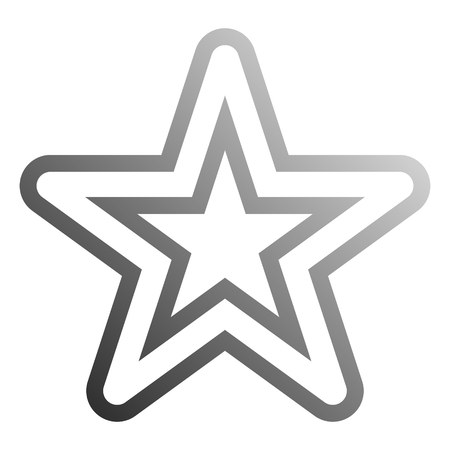 Star symbol icon - gray hollow gradient outline, 5 pointed rounded, isolated - vector illustration