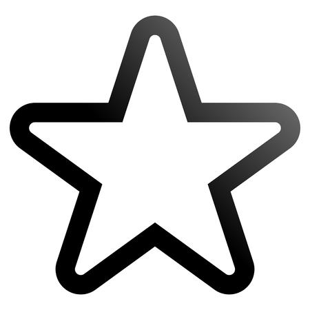 Star symbol icon - black gradient outline, 5 pointed rounded, isolated - vector illustration Ilustração