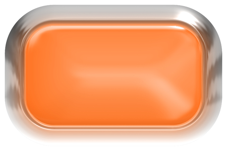 Web button 3d - orange glossy realistic with metal frame, easy to expand - 3d rendering