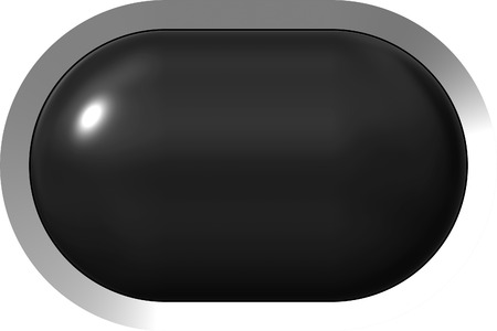 Web button 3d - black glossy realistic with metal frame, easy to expand - 3d rendering 免版税图像