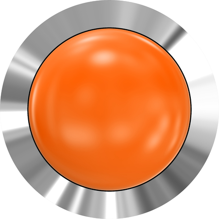 Web button 3d - orange glossy realistic with metal frame - 3d rendering