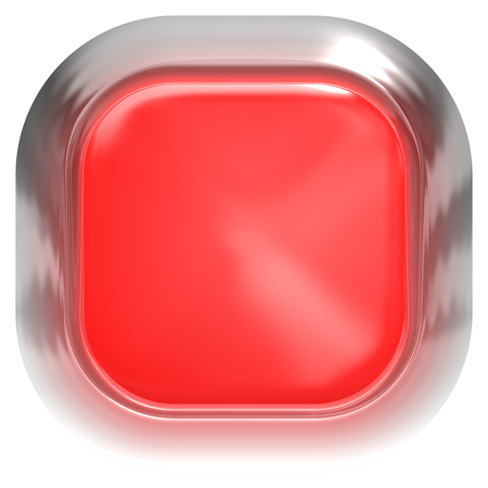 Web button 3d - red glossy realistic with metal frame, easy to expand - 3d rendering 免版税图像