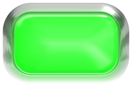 Web button 3d - green glossy realistic with metal frame, easy to expand - 3d rendering