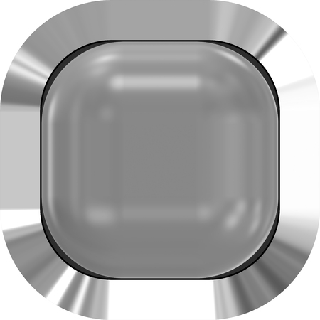 Web button 3d - gray glossy realistic with metal frame, easy to expand - 3d rendering