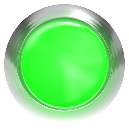 Web button 3d - green glossy realistic with metal frame - 3d rendering
