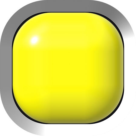 Web button 3d - yellow glossy realistic with metal frame, easy to expand - 3d rendering