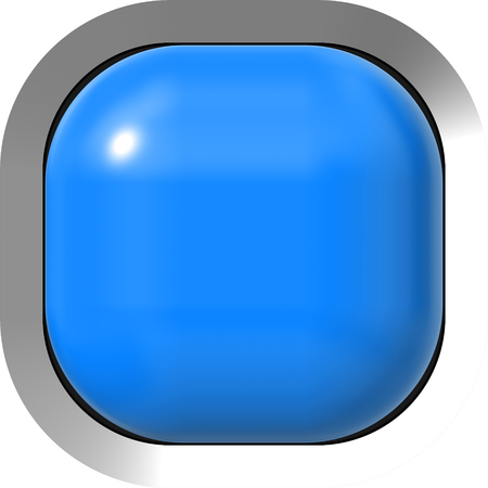 Web button 3d - blue glossy realistic with metal frame, easy to expand - 3d rendering