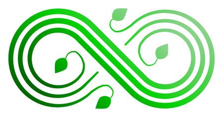 Infinity flourish symbol icon - green gradient, isolated - vector illustration