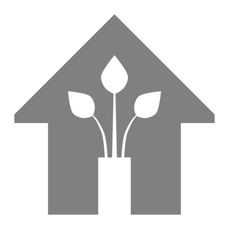 Eco house - green home icon - gray, isolated - vector illustration Ilustração