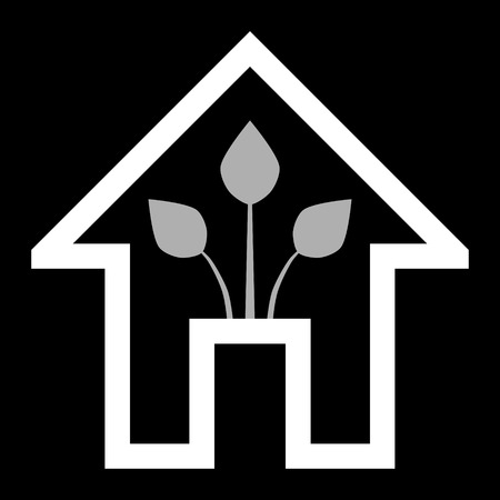 Eco house - green home icon - white outline, isolated - vector illustration Ilustração