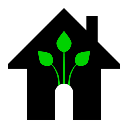 Eco house - green home icon - black and green, isolated - vector illustration