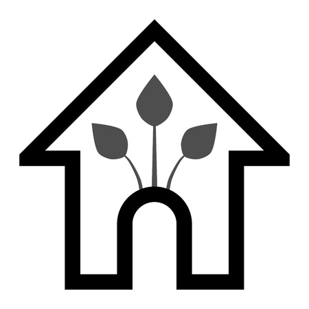 Eco house - green home icon - black gray outline, isolated - vector illustration Ilustração