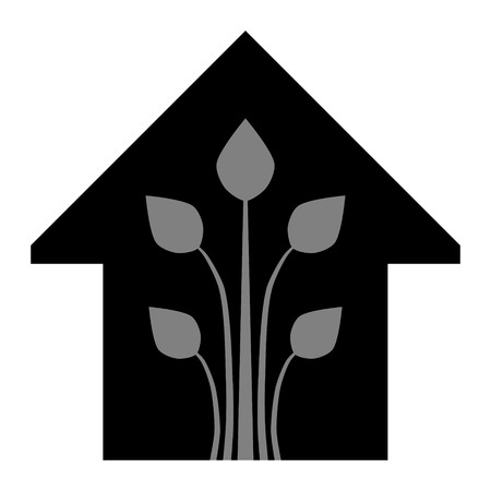 Eco house - green home icon - black gray, isolated - vector illustration