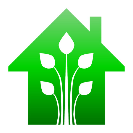 Eco house - green home icon - green gradient, isolated - vector illustration Ilustração