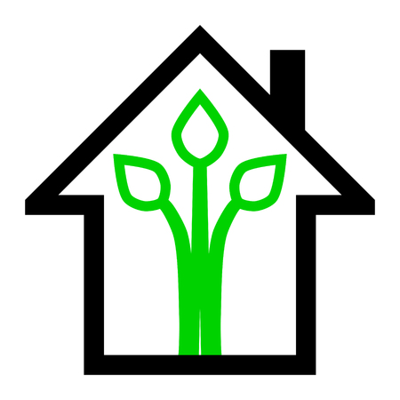 Eco house - green home icon - black and green outline, isolated - vector illustration Ilustração