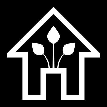 Eco house - green home icon - white outline, isolated - vector illustration Vettoriali