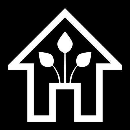 Eco house - green home icon - white outline, isolated - vector illustration Ilustração