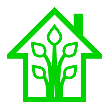 Eco house - green home icon - green outline, isolated - vector illustration