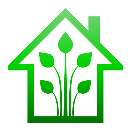 Eco house - green home icon - green gradient outline, isolated - vector illustration Ilustração