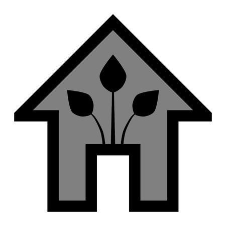 Eco house - green home icon - black gray outline, isolated - vector illustration Vettoriali